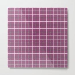 Sugar Plum - violet color - White Lines Grid Pattern Metal Print