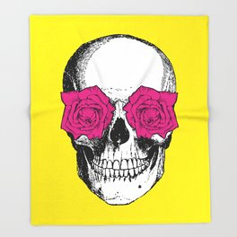 Skull and Roses | Yellow and Pink Throw Blanket