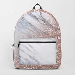 Blush Pink Sparkles on White and Gray Marble V Backpack