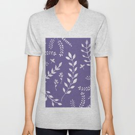Ultra Violet Leaves Pattern #2 #drawing #decor #art #society6 Unisex V-Neck