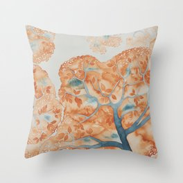 Tree Canopy in Oranges Throw Pillow