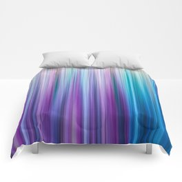 Abstract Purple and Teal Gradient Stripes Pattern Comforters