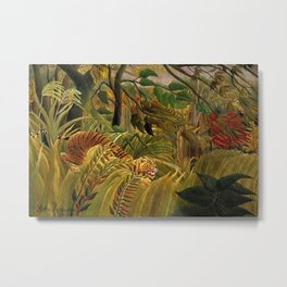 Tiger in a Tropical Storm - Surprised! by Henri Rousseau Metal Print
