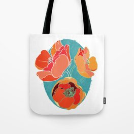 Turquoise California Poppies Tote Bag