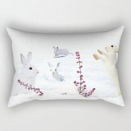 White rabbits dancing around red erica in snow mountain. Rectangular Pillow