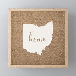Ohio is Home - White on Burlap Framed Mini Art Print