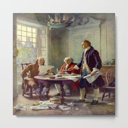 Jean-Leon Gerome Ferris's Writing the Declaration of Independence in 1776 Metal Print