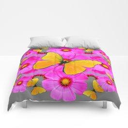 GOLDEN BUTTERFLIES FUCHSIA PINK FLORAL GREY ART Comforters