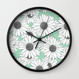 Daisy Mint Blocks Wall Clock