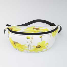 yellow cosmos flowers watercolor Fanny Pack