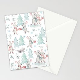 Bear & Mouse - Cute 4 Kids - Little Mice in Christmas Winter Wonder Land I Stationery Cards