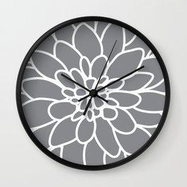 Dahlia Flower Slate Grey Wall Clock