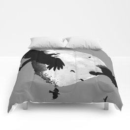 A Murder Of Crows Flying Across The Moon Comforters