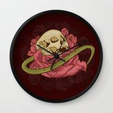 Skull N Roses Wall Clock