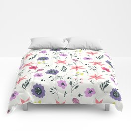 Abstract coral purple violet vector floral pattern Comforters
