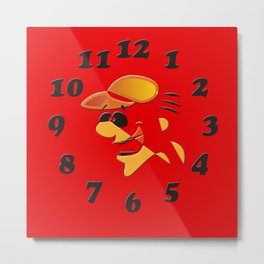 "wall clock ""funny"" Metal Print"