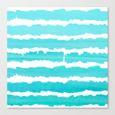 Maritime pattern- aqua handpainted stripes on clear white- horizontal Canvas Print