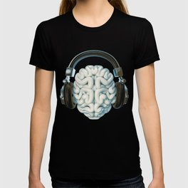 Mind Music Connection /3D render of human brain wearing headphones T-shirt
