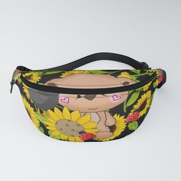 Rustic Sunflowers Bear And Black Crow Ladybugs Fanny Pack