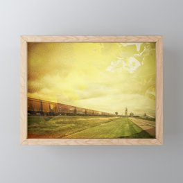 Freight Train And Sunflowers Double Exposure Framed Mini Art Print