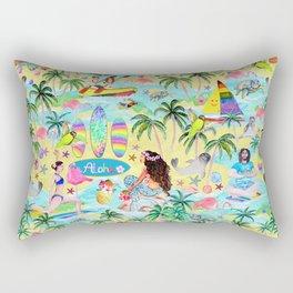 Yoga Aloha Hawaiian Tropical mermaid , flamingos, yoga floats floral Rectangular Pillow