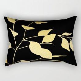 Gold & Black Leaves Rectangular Pillow