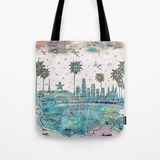 Los Angeles skyline vintage map Tote Bag