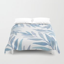 Muted Blue Palm Leaves Duvet Cover