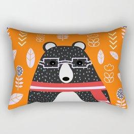 Bear in floral rain Rectangular Pillow