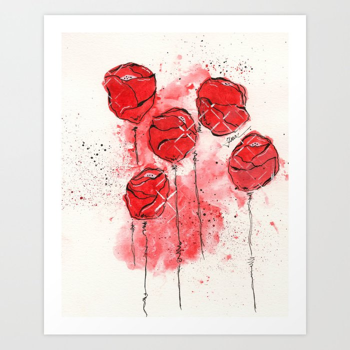 Crimson and Cream Splotch Floral Art Print