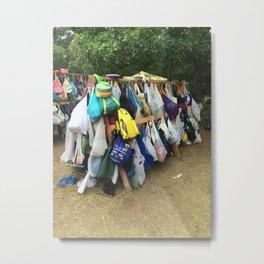 Camping Bag Dishes Metal Print