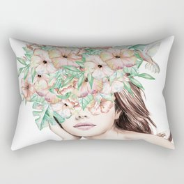 She Wore Flowers in Her Hair Island Dreams Rectangular Pillow