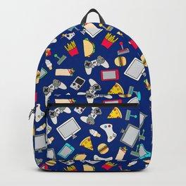 Gamer Blue Gaming Fast Food Kids Retro Pattern Backpack