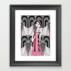 Art deco lady (black and white) Framed Art Print