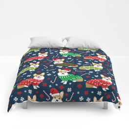 Corgi Christmas Sweaters - corgi christmas, cute corgi gift, corgi lover, christmas blanket Comforters