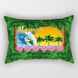 Hawaiian Surfing And Palm Trees Rectangular Pillow