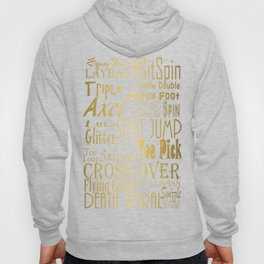 Figure Skating Subway Style Typographic Design Gold Foil Hoody