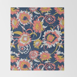 Bold Chinoiserie Floral - Limited Color Palette 2019 Throw Blanket