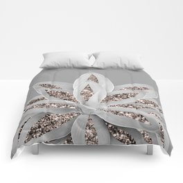 Gray Agave with Rose Gold Glitter #1 #shiny #tropical #decor #art #society6 Comforters