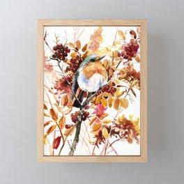 Robin Bird and Colors of Fall Framed Mini Art Print