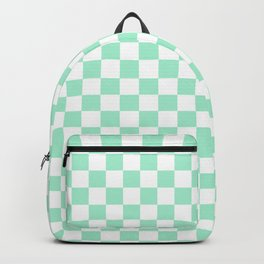 White and Magic Mint Green Checkerboard Backpack