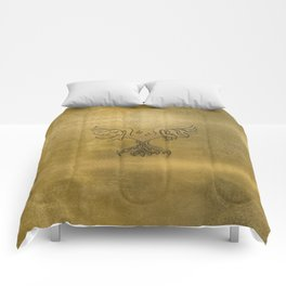 Phoenix Bird Gold Embossed Comforters
