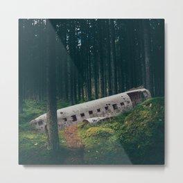 Surreal Iceland Plane Crash-Sólheimasandur Plane Crash in a Swedish Forest Metal Print