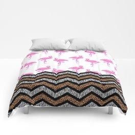 Animal Skin Print Chevron Pattern with Flamingos Comforters