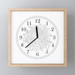 floral clock in black&white Framed Mini Art Print