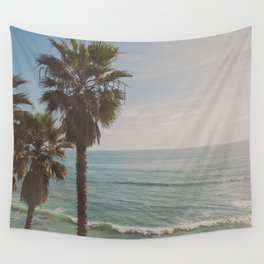 palm tree and ocean. California Vacation Wall Tapestry