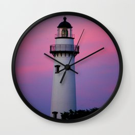 Lighthouse and Sunset Wall Clock