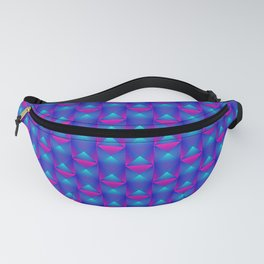 Tiled pattern of pink squares and striped blue triangles. Fanny Pack