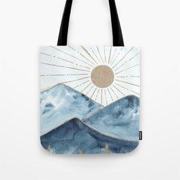 Indigo & gold landscape 1 Tote Bag