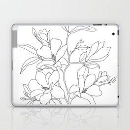 Minimal Line Art Magnolia Flowers Laptop & iPad Skin